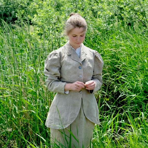 Late Victorian Linen Riding Cycling Walking Jacket