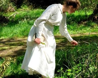 """Edwardian White Linen Dress 26"""" Waist"""