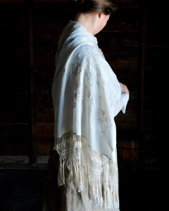 Antique Embroidered Silk Fringed Shawl Scarf
