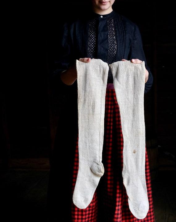 Antique Early Homespun Knit Linen Stockings