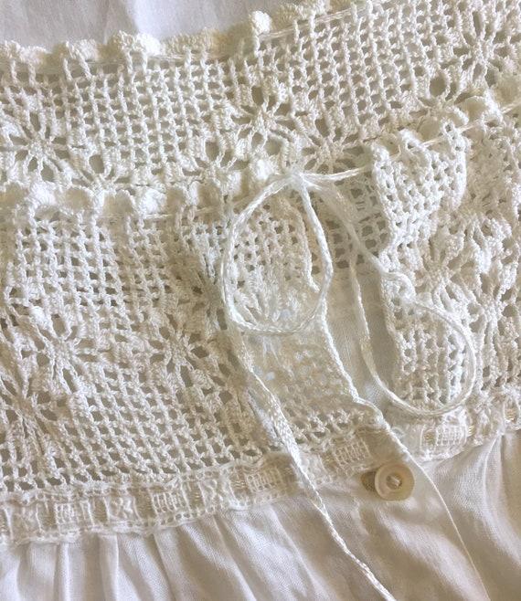 Vintage White Cotton Underdress with Crochet Yoke… - image 10
