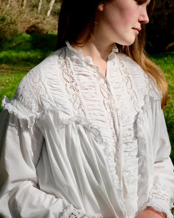 Antique 1880s Victorian Dressing Gown Nightdress … - image 1