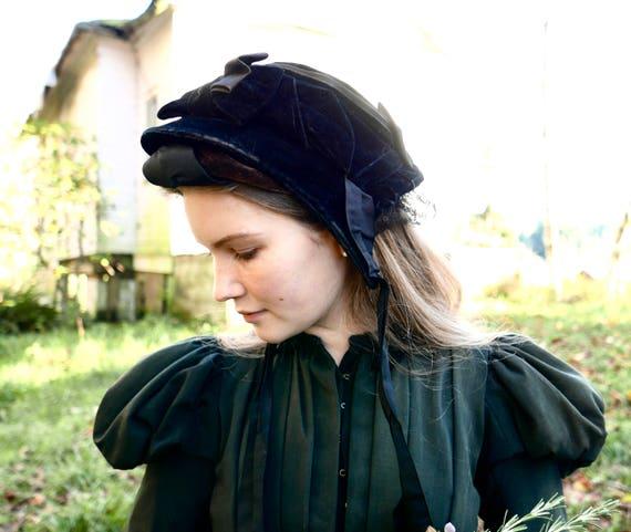 Victorian Velvet and Silk Mourning Bonnet