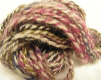 Y271  Hand Spun natural Cormo plied with Commercial Fall Multi Colored Mohair