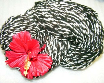 Y251 Hand Processed and Hand Spun Black and White Border X Yarn
