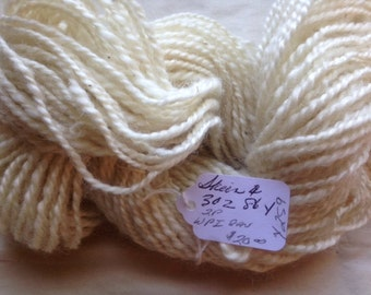Y259  Hand spun Creamy White Wool Mohair Blend 86 Yards