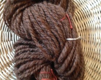 Y292 Hand Processed and Spun Rose Gray Alpaca 2 Ply Yarn 100Yards