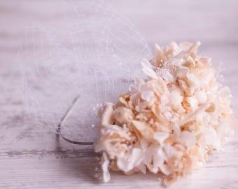 Flower wedding headband -  flower wedding crown - flower crown headband - birdcage veil headband - romantic weedings - birdcage veil