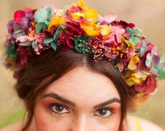 Boho Flower Crown - Bohemian Flower Crown - Boho Bride Crown - Bohemian Wedding Crown - Preserved Flower Crown - Preserved Floral Headpiece