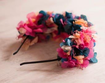Preserved Custom Flowers Crown - Flower HeadPiece - Wedding Boho Wreath - Preserved Flower HeadBand - Floral Tiara - BrideMaid Flower Crown