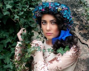 Preserved Custom Flowers Crown - Floral HeadPiece - Wedding Boho Wreath - Woodland Crown - Floral Tiara - BrideMaid Flower Crown - Fascinate