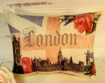 Handmade Union Jack London Pillow, European Pillow, European Decor, Union Flag, Shabby Chic
