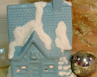 Shabby Chic Turquoise Sky Blue Glittered Christmas Cottage, Lighted Christmas House, Christmas Village
