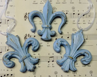 Shabby Chic French  Fleur de Lis Ornament Set, Blue and Gold, Christmas Tree Decorations, Cottage Decor