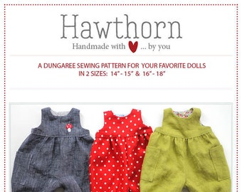 Hawthorn Dungarees Doll Clothing Pattern by Meadowfinch