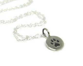 Pawprint sterling silver necklace