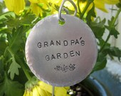 Extra Large hand stamped garden herb marker 2 quot round