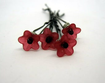 red flower bobby pins...hairpins