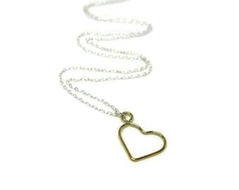 "my Heart... open 14 karat gold-filled heart  on 18"" sterling silver necklace"