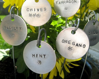"""Individual garden markers - hand stamped  1-1/2"""" round.... qty 1"""