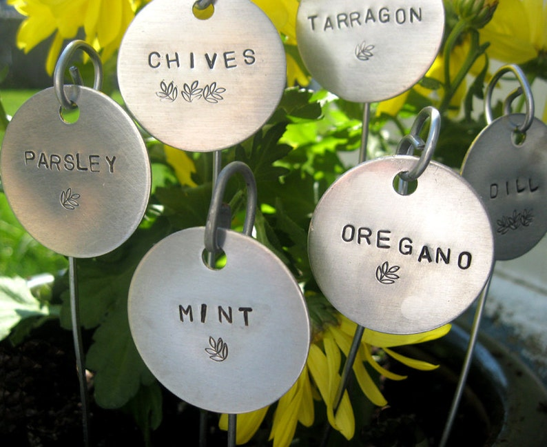 garden markers  hand stamped  1-1/2 round.... set of 5 image 0