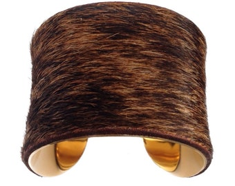 Cowhide Fur Cuff Bracelet ( Dark Brindle Gold Lined ) - by UNEARTHED