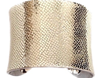 Metallic Champagne Gold Leather Silver Lined Cuff - by UNEARTHED