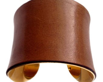 Caramel Distressed Leather Gold Lined Cuff - by UNEARTHED