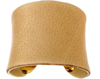 Cappuccino Tan Distressed Leather Gold Lined Cuff - by UNEARTHED