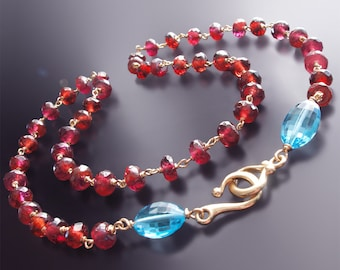 CUSTOM Made to Order - 14k Garnet Necklace with Swiss Blue Topaz