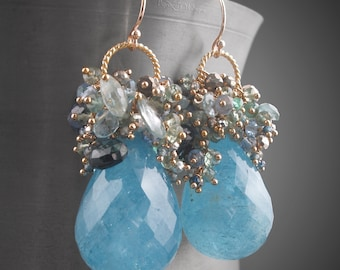 Exquisite 14k Solid Gold Aquamarine Earrings with Tanzanite, Sapphire, Emerald, Moss Aquamarine, and Pyrite
