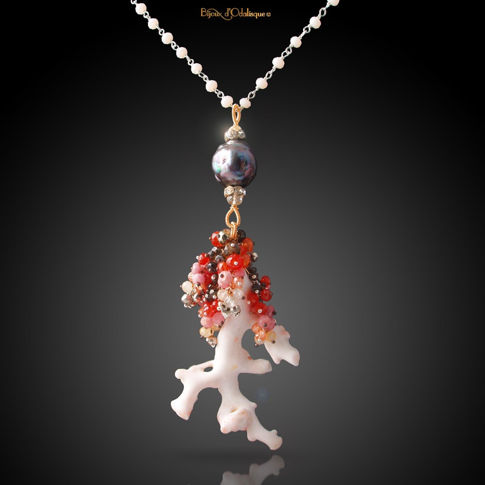 Japanese White Coral Necklace with Kasumi-like Pearl, Carnelian,  Rhodochrosite, Garnet, Pyrite, Zircon, Chalcedony, and Vintage Accents