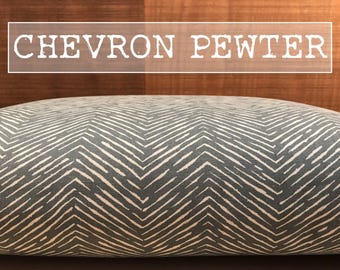 Dog Bed Cover, Pewter/Natural, Storm Grey/White or Navy Blue/White, Chevron Zig Zag Dog Bed Duvet Cover, Personalization Extra