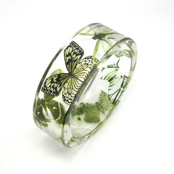 Items similar to Green Bracelet, Forest Green Butterflies ...