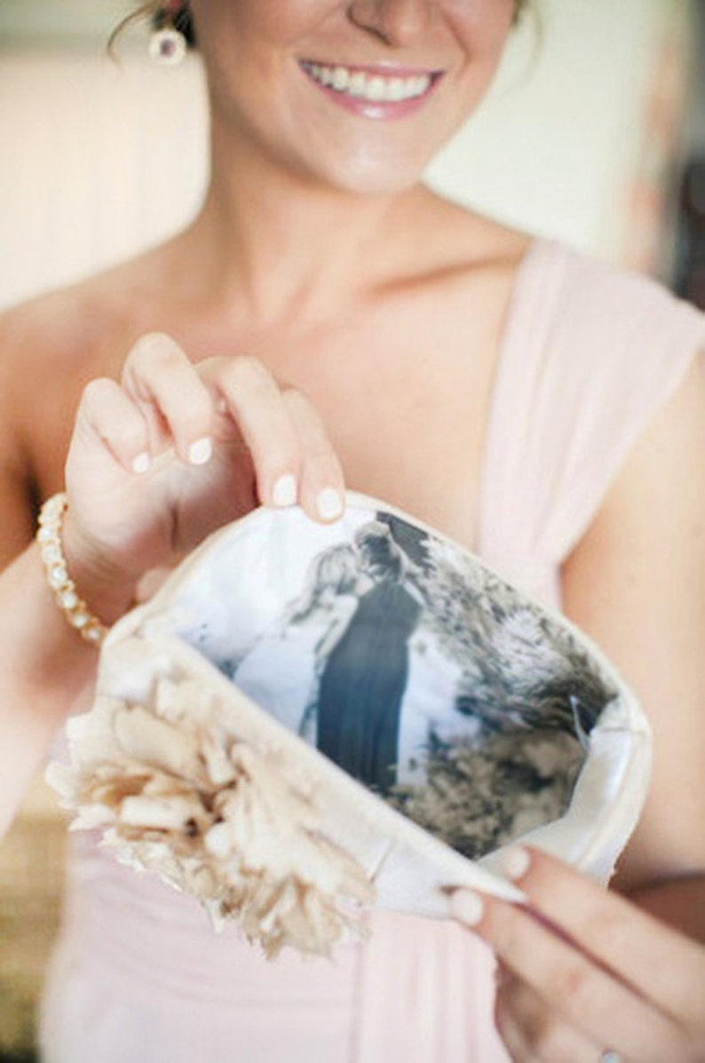 Photo Lining Clutch Bridal Clutch Mother of the Bride Customized Photo Clutch Maid Of Honor Blush Clutch. Wedding Photo Clutch