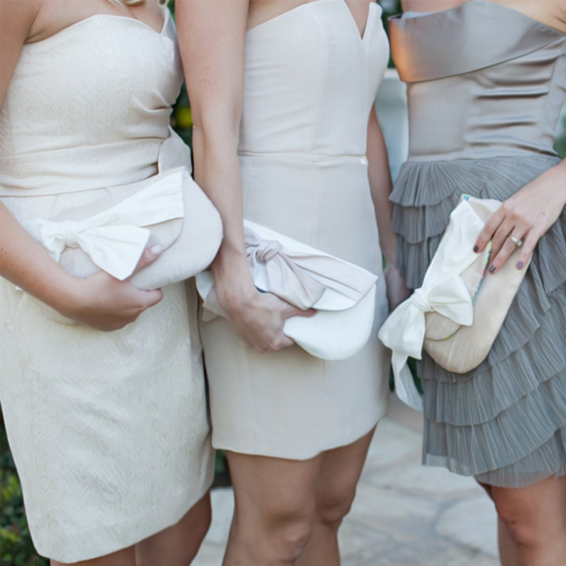 35d8352516 Ivory and Blush bridesmaid clutches Champagne clutches for   Etsy