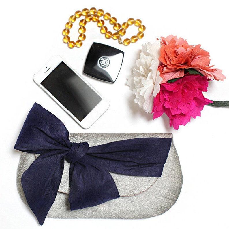 Silver Clutch. Bridal Clutch. Wedding Clutch. Navy Clutch. image 0