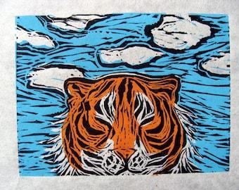 Tiger Appreciating The Clear Skies During Covid Three Color Lino Block Print