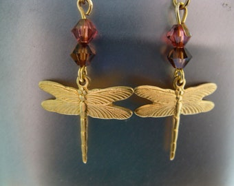 Brass Dragonfly Charm Earrings With Swarovski Crystals