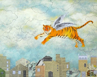 Must Tigers Wait For Heaven To Run Free Flying Tiger Limited Edition Giclee' Print Reproduction