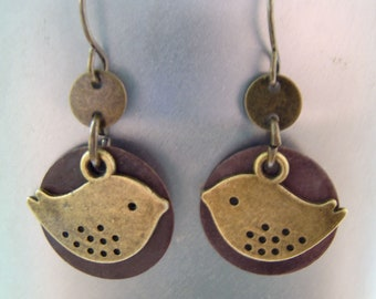Little Bird Charm Earrings With Brown Disc