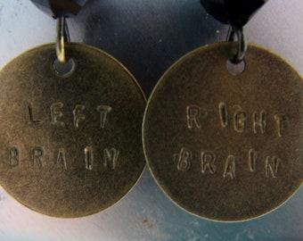 Right Brain Left Brain Hand Stamped Word Earrings