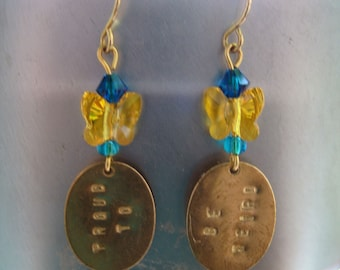 Proud To Be Weird Conversation Earrings With Butterfly Crystal
