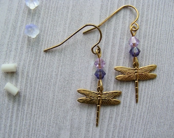 Dragonfly Charm Earrings With Swarovski Crystal Beads