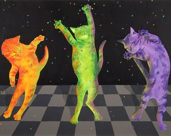 While You're At Work Dancing Cats Limited Edition Giclee' Print Reproduction