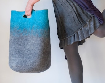 MEDIUM SIZED Turquoise Grey Art Felt Basket Bag / Market Tote / Sturdy / Carryall, Everyday, Shopping, Picnic / Hand felted from raw wool