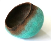 Pet Cat Dog Bed Cave House Vessel Furniture - Hand Felted Wool - Teal Brown Stone - Crisp Contemporary Modern Minimal Design READY TO SHIP