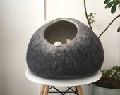 Cat Nap Wool Cocoon, Pet Cave, Bed, House, Cat Furniture Round Sphere, Hand Felted Wool, Sustainable Contemporary Modern Design, Dark Grey
