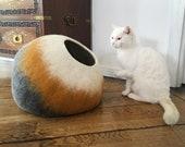 Mustard Grey Wool Cat Cocoon Cave, Pet Bed, House, Vessel, Furniture, Hideaway Hand Felt Wool Crisp Contemporary Modern Design