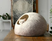 Cat Nap Cocoon Cave Bed House Vessel Furniture - Hand Felted Wool - Crisp Contemporary Design - READY TO SHIP Beige Cat Bubble